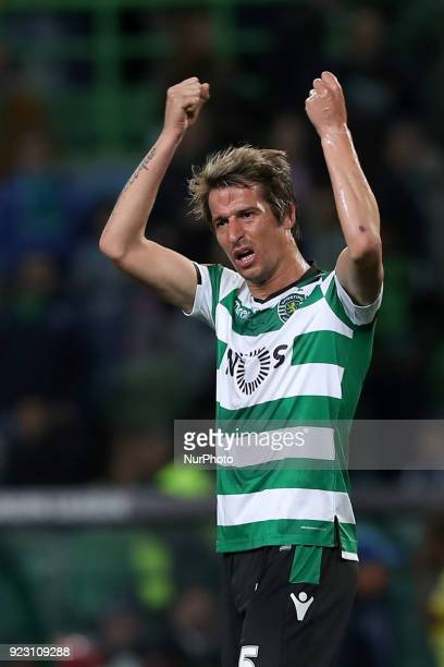 Sporting's defender Fabio Coentrao from Portugal reacts during the UEFA Europa League round of 32 second leg football match between Sporting CP and...