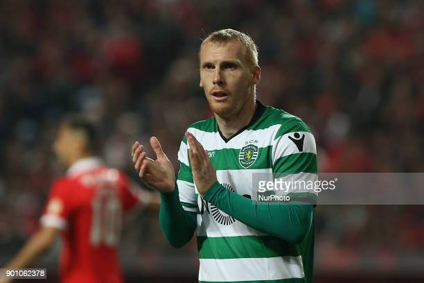 Sportings defender Jeremy Mathieu from France during the Premier League 2017/18 match between SL Benfica v Sporting CP, at Luz Stadium in Lisbon on...