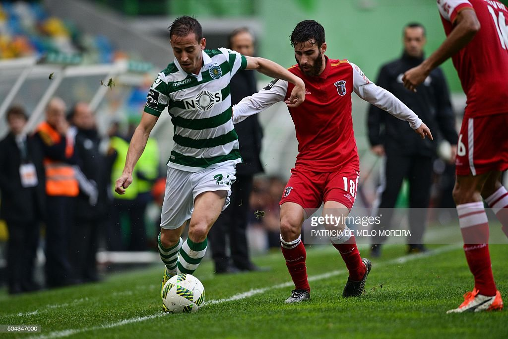 Sporting's defender Joao Pereira (L) vies with Braga's midfielder Rafa Silva during the Portuguese league football match Sporting CP vs SC Braga at the Jose Alvalade stadium in Lisbon on January 10, 2016.