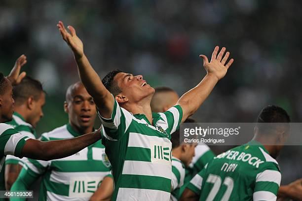 Sporting's defender Jonathan Silva celebrates scoring Sporting's goal during the Primeira Liga match between Sporting CP and FC Porto at Estadio Jose...