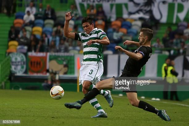 Sporting's defender Jonathan Silva vies with Sknderbeu's midfielder Gerhard Progni during the UEFA Europa League Group H football match between...