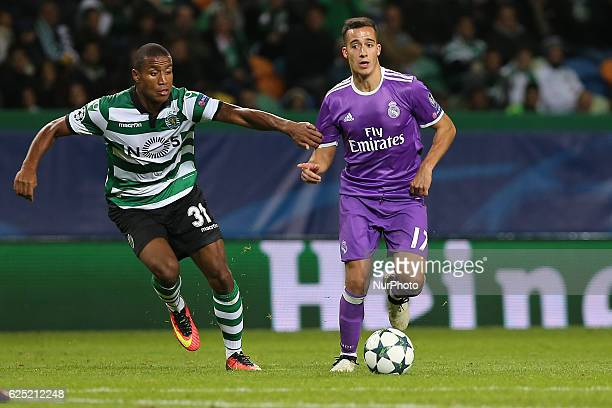 Sportings defender Marvin Zeegelaar from Holland and Real Madrids forward Lucas Vazquez from Spain in action during the UEFA Champions League match...