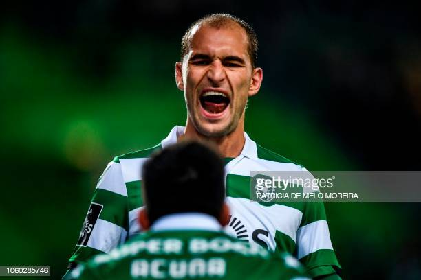 Sporting's Dutch forward Bas Dost celebrates a goal during the Portuguese league football match between Sporting CP and GD Chaves at the Jose...