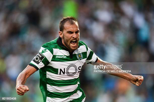 Sporting's Dutch forward Bas Dost celebrates a goal during the Portuguese league football match Sporting CP vs Moreirense FC at the Jose Alvalade...