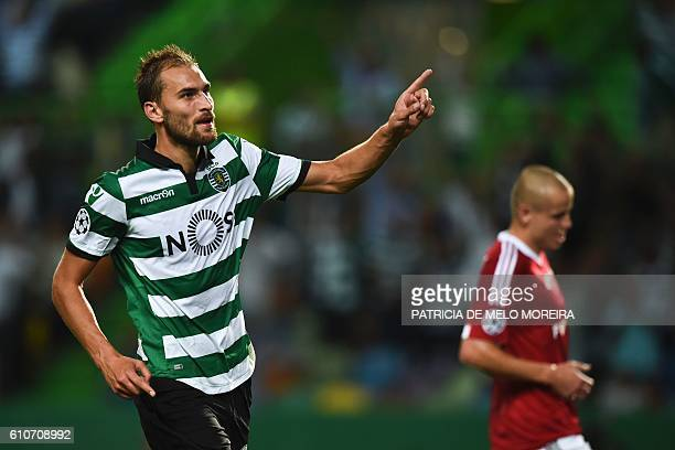 Sporting's Dutch forward Bas Dost celebrates a goal during their UEFA Champions League football match between Sporting CP and Legia Warsaw at the...