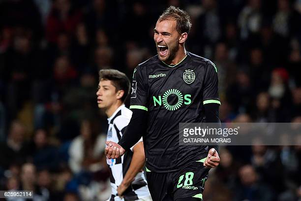 Sporting's Dutch forward Bas Dost celebrates after scoring a goal during the Portuguese league football match Boavista FC vs Sporting CP at the...