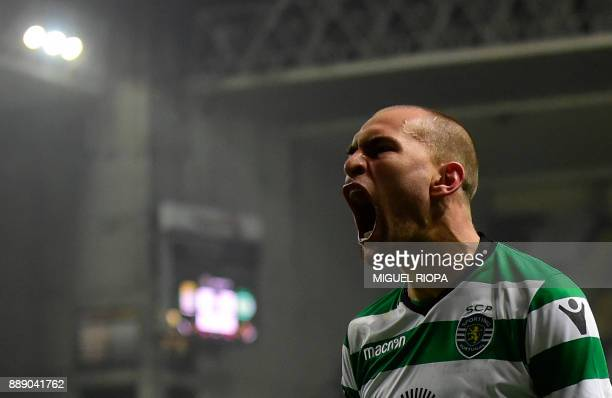 Sporting's Dutch forward Bas Dost celebrates after scoring a goal during the Portuguese league football match between Boavista and Sporting Lisbon at...
