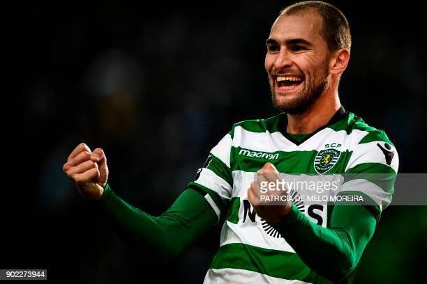 Sporting's Dutch forward Bas Dost celebrates after scoring a goal during the Portuguese League football match Sporting CP vs CS Maritimo at the...