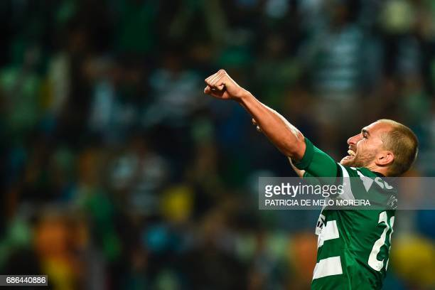 Sporting's Dutch forward Bas Dost celebrates after scoring during the Portuguese league football match Sporting CP vs GD Chaves at the Jose Alvalade...