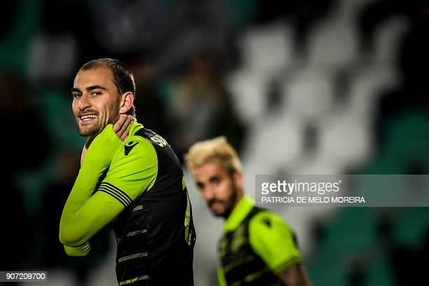 Sporting's Dutch forward Bas Dost gestures during the Portuguese league football match between Vitoria FC and Sporting CP at the Bonfim stadium in...