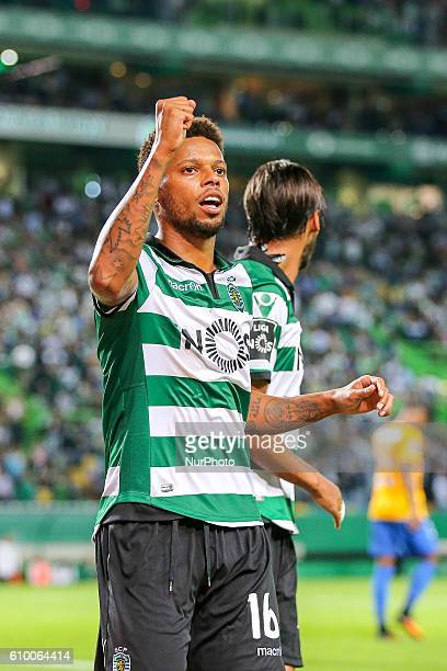 Sportings forward Andre Felipe from Brazil celebrating after scoring a goal during Premier League 2016/17 match between Sporting CP and Estoril at...