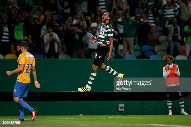 Sporting's forward Bas Dost celebrates his second goal during Premier League 2016/17 match between Sporting CP vs Estoril Praia in Lisbon on...
