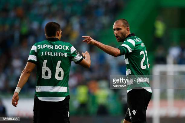 Sporting's forward Bas Dost celebrates his second goal with Sporting's midfielder Joao Palhinha during Premier League 2016/17 match between Sporting...