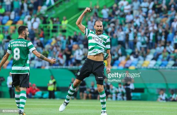 Sportings forward Bas Dost from Holland celebrating after scoring a goal during the Preseason Friendly match between Sporting CP and AS Monaco at...