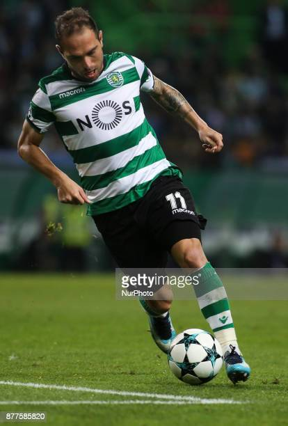 Sporting's forward Bruno Cesar in action during the Champions League football match between Sporting CP and Olympiacos at Jose Alvalade Stadium in...