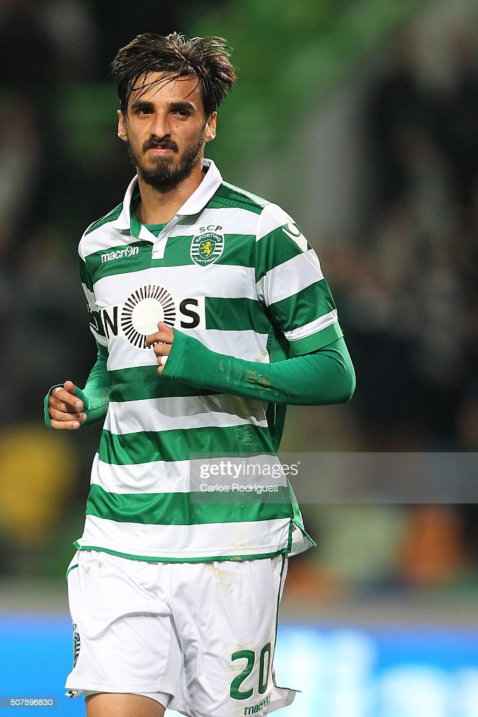 Sporting's forward Bryan Ruiz celebrates scoring Sporting's second goal during the match between Sporting CP and A Academica de Coimbra for the Portuguese Primeira Liga at Jose Alvalade Stadium on January 30, 2016 in Lisbon, Portugal.
