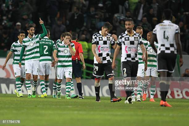 Sporting's forward Bryan Ruiz celebrates scoring Sporting's second goal during the match between Sporting CP and Boavista FC for the Portuguese...