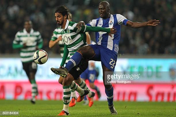 Sporting's forward Bryan Ruiz vies with Porto's midfielder Danilo Pereira during the match between Sporting CP and FC Porto at Jose Alvalade Stadium...