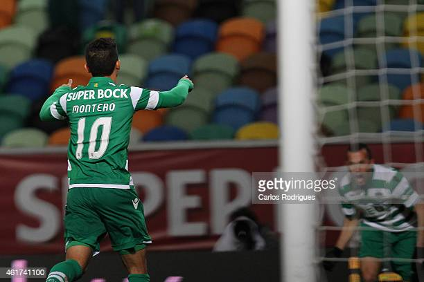 Sporting's forward Fredy Montero celebrates scoring Sporting«s goal during the Primeira Liga match between Sporting CP and Rio Ave at Estadio Jose...