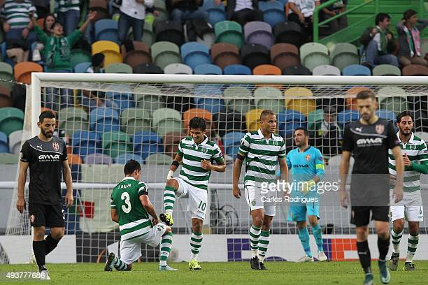 Sporting's forward Fredy Montero celebrates scoring Sporting's second goal Sporting's defender Jonathan Silva during the match between Sporting CP...