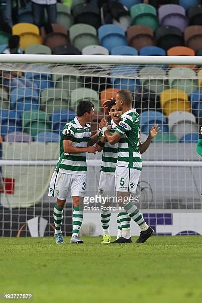 Sporting's forward Fredy Montero celebrates scoring Sporting's second goal with Sporting's defender Jonathan Silva and Sporting's defender Ewerton...
