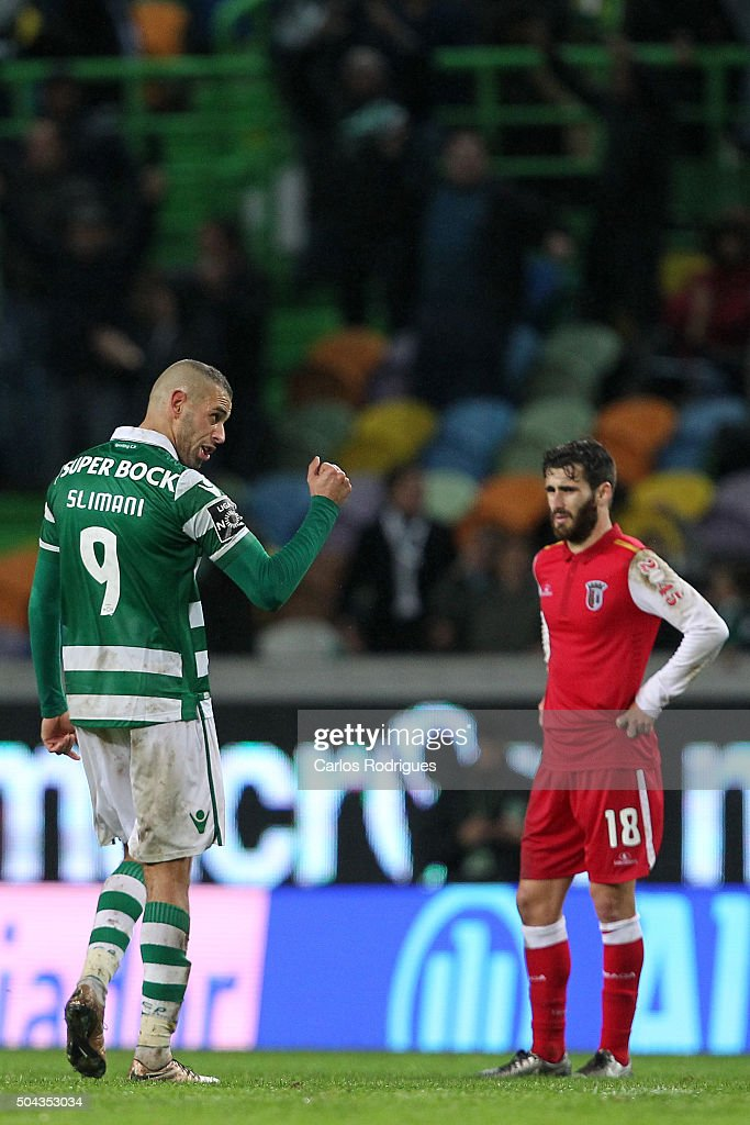 Sporting's forward Fredy Montero celebrates scoring Sporting«s second goal during the match between Sporting CP and SC Braga for the Portuguese Primeira Liga at Jose Alvalade Stadium on September 21 2015 in Lisbon, Portugal.
