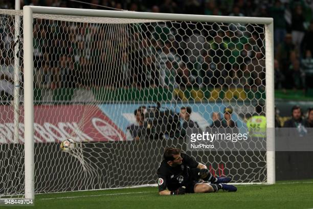 Sporting's forward Fredy Montero from Colombia beats Porto's Spanish goalkeeper Iker Casillas during the penalty shootout in the Portugal Cup...
