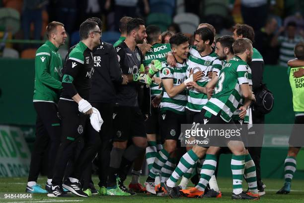 Sporting's forward Fredy Montero from Colombia celebrates the victory with teammates after the Portugal Cup semifinal second leg football match...