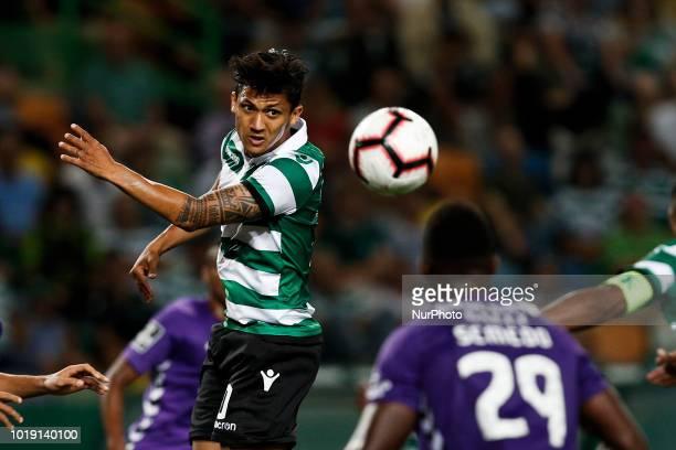Sporting's forward Fredy Montero heads for the ball with Setubal's defender Jose Semedo during Primeira Liga 2018/19 match between Sporting CP vs...
