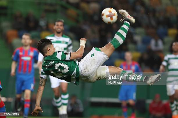 Sporting's forward Fredy Montero in action during the UEFA Europa League round of 16 1st leg football match Sporting CP vs Viktoria Plzen at the Jose...
