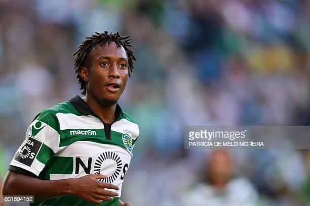 Sporting's forward Gelson Martins celebrates a goal during the Portuguese league football match Sporting CP vs Moreirense FC at the Jose Alvalade...