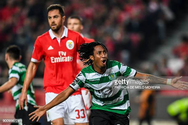 Sporting's forward Gelson Martins celebrates a goal during the Portuguese league football match SL Benfica vs Sporting CP at the Luz stadium in...