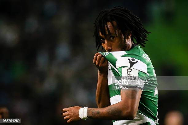 Sporting's forward Gelson Martins celebrates a goal during the Portuguese League football match between Sporting CP and Rio Ave FC at Jose Alvalade...