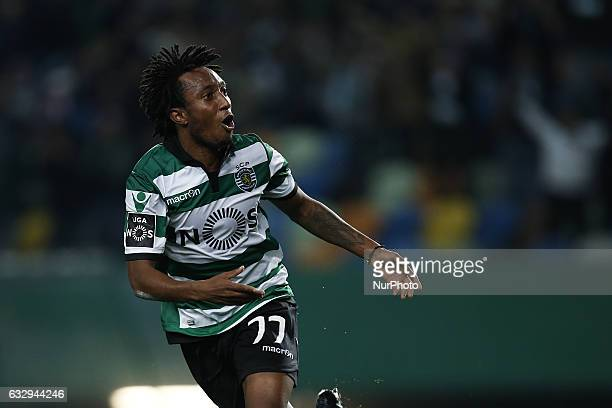Sporting's forward Gelson Martins celebrates after scoring his team's third goal during Premier League 2016/17 match between Sporting CP vs FC Pacos...