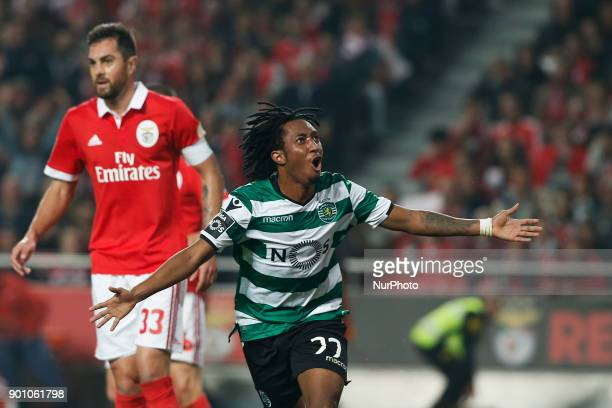 Sporting's forward Gelson Martins celebrates his goal during Primeira Liga 2017/18 match between SL Benfica vs Sporting CP in Lisbon on January 3 2018