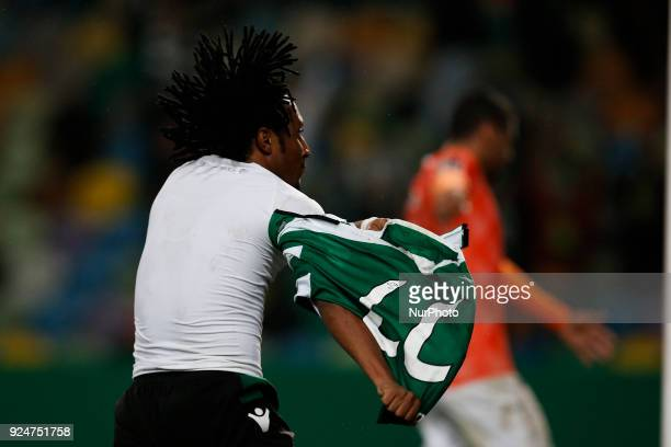 Sporting's forward Gelson Martins celebrates his goal during Primeira Liga 2017/18 match between Sporting CP vs Moreirense FC in Lisbon on February...