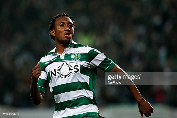 Sporting's forward Gelson Martins celebrates his goal during the Portuguese League football match between Sporting CP and Vitoria Setubal at Jose...