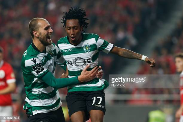 Sporting's forward Gelson Martins celebrates his goal with Sporting's forward Bas Dost during Primeira Liga 2017/18 match between SL Benfica vs...