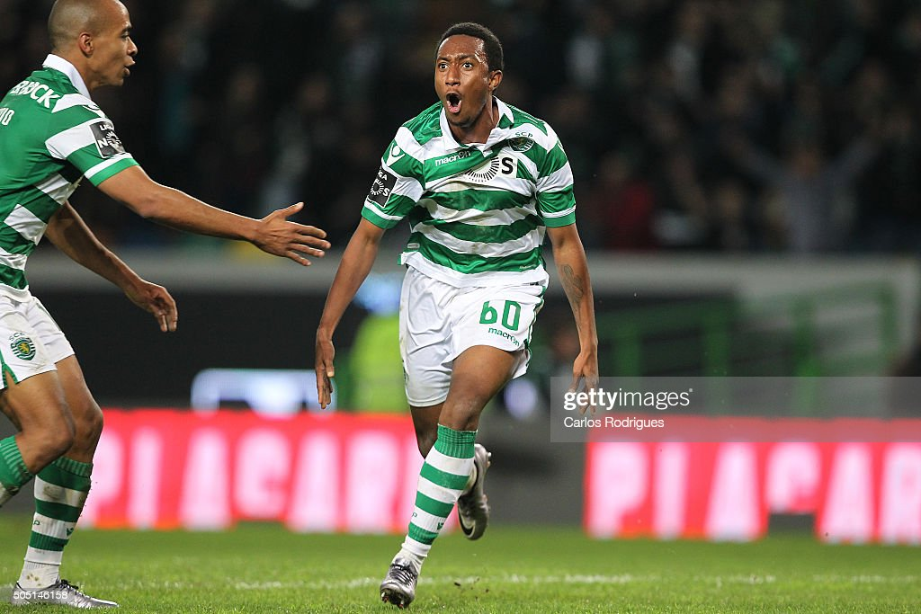 Sporting's forward Gelson Martins celebrates scoring Sporting«s second goal during the match between Sporting CP and CD Tondela for the Portuguese Primeira Liga at Jose Alvalade Stadium on January 15, 2016 in Lisbon, Portugal.
