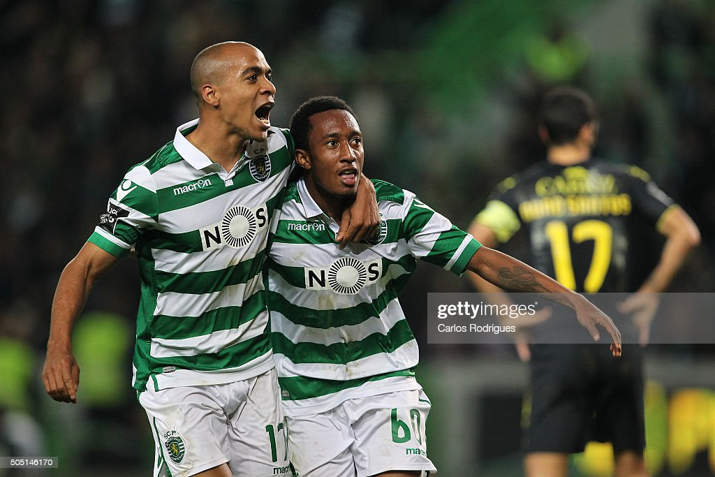 Sporting's forward Gelson Martins celebrates scoring Sporting«s second goal with Sporting's midfielder Joao Mario during the match between Sporting CP and CD Tondela for the Portuguese Primeira Liga at Jose Alvalade Stadium on January 15, 2016 in Lisbon, Portugal.