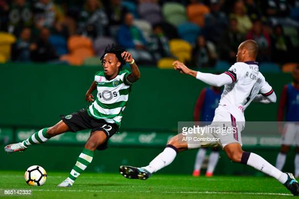 Sporting's forward Gelson Martins challenges Chaves' Brazilian defender Anderson Conceicao during the Portuguese league football match Sporting CP vs...