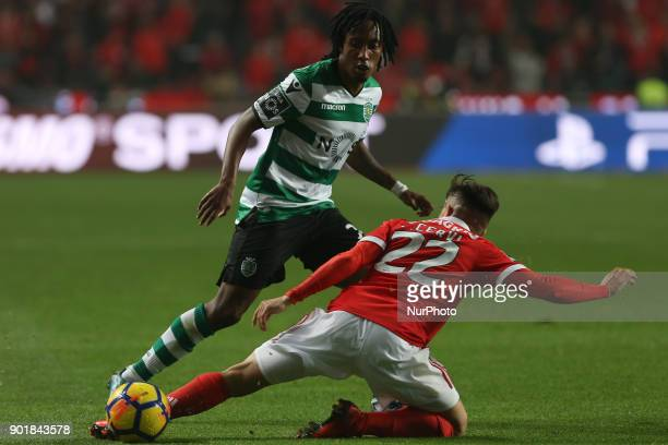 Sportings forward Gelson Martins from Portugal and Benficas forward Franco Cervi from Argentina during the Premier League 2017/18 match between SL...