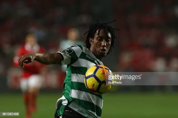 Sportings forward Gelson Martins from Portugal during the Premier League 2017/18 match between SL Benfica v Sporting CP at Luz Stadium in Lisbon on...
