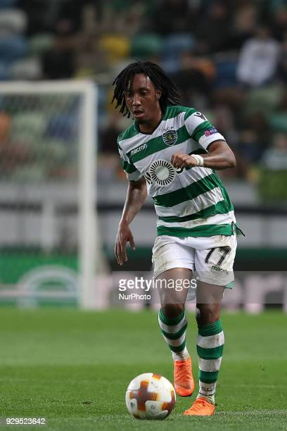 Sporting's forward Gelson Martins from Portugal in action during the UEFA Europa League round of 16 1st leg football match Sporting CP vs Viktoria...