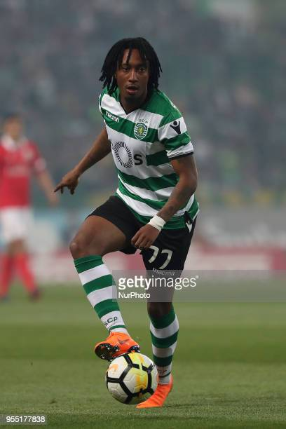 Sporting's forward Gelson Martins from Portugal in action during the Primeira Liga football match Sporting CP vs SL Benfica at the Alvadade stadium...