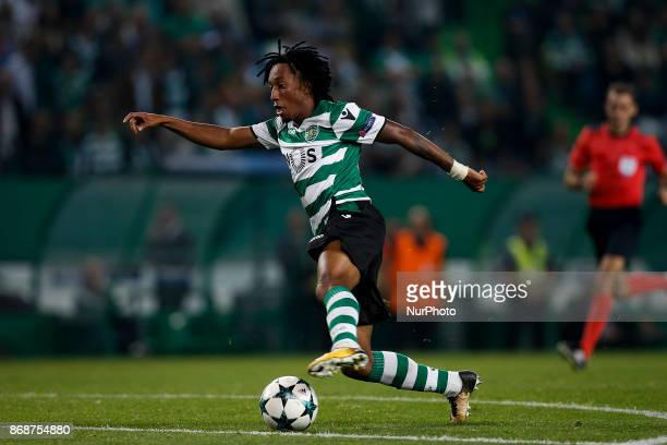 Sporting's forward Gelson Martins in action during Champions League 2017/18 match between Sporting CP vs Juventus FC in Lisbon on October 31 2017