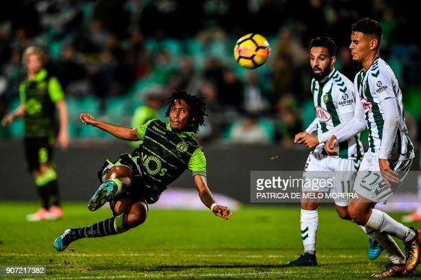 Sporting's forward Gelson Martins kicks the ball during the Portuguese league football match between Vitoria FC and Sporting CP at the Bonfim stadium...