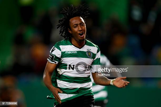 Sporting's forward Gelson Martins reacts during Primeira Liga 2017/18 match between Sporting CP vs CD Feirense in Lisbon on February 11 2017