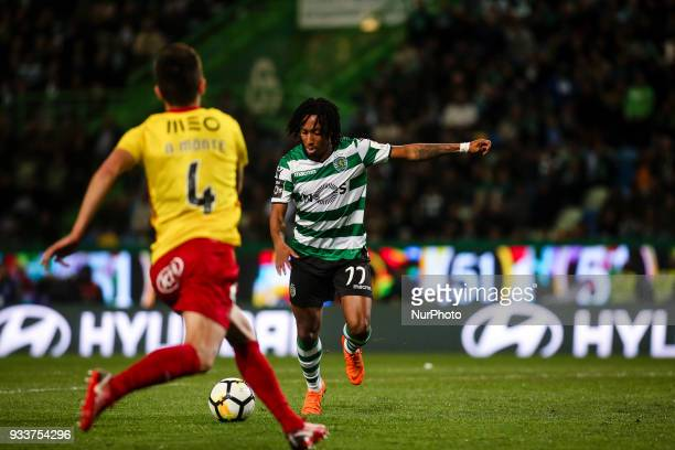 Sporting's forward Gelson Martins shoots to score a goal during the Portuguese League football match between Sporting CP and Rio Ave FC at Jose...
