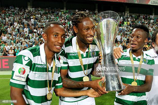 Sporting's forward Gelson Martins Sporting's Midfileder Ruben Semedo and Sporting's forward Carlos Mane during the Portuguese Super Cup match between...